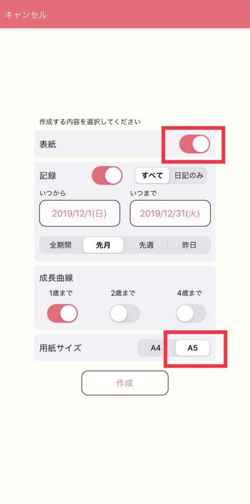 PDF作成設定画面